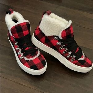 Plaid high top sneakers
